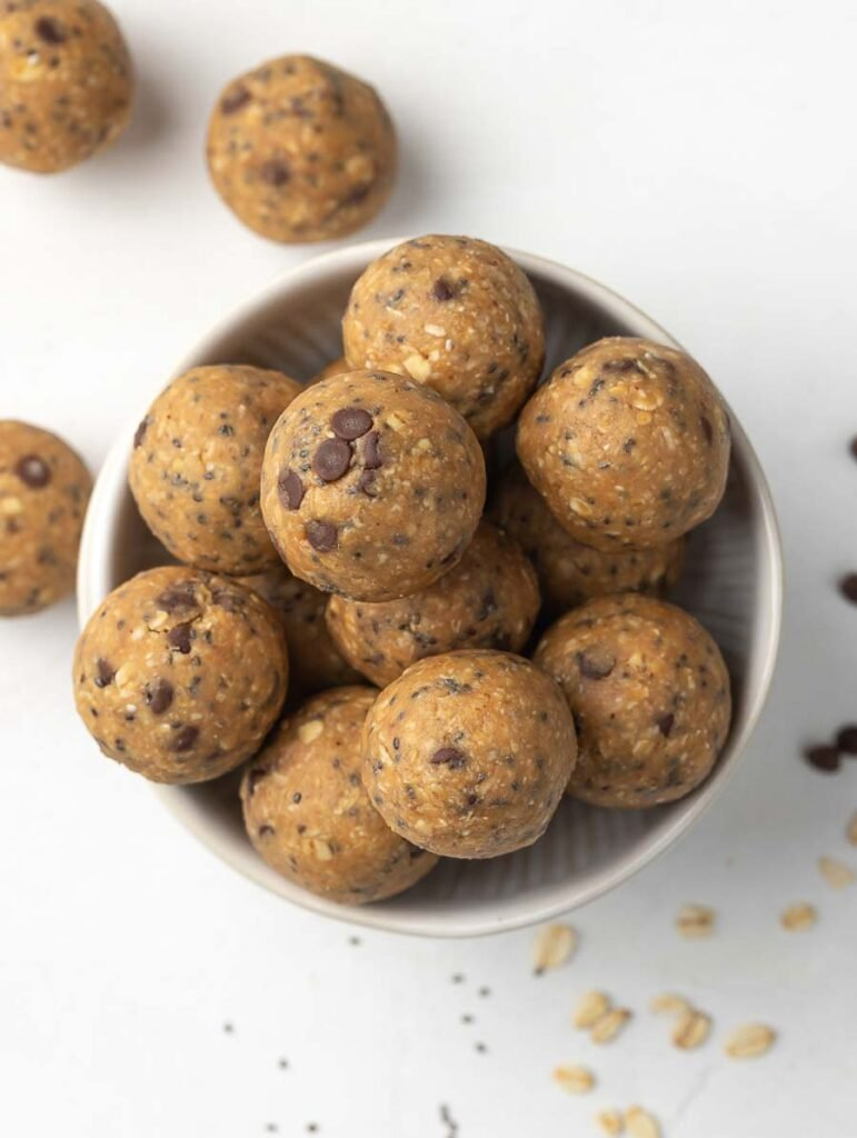 top down shot of no bake energy balls in a bowl