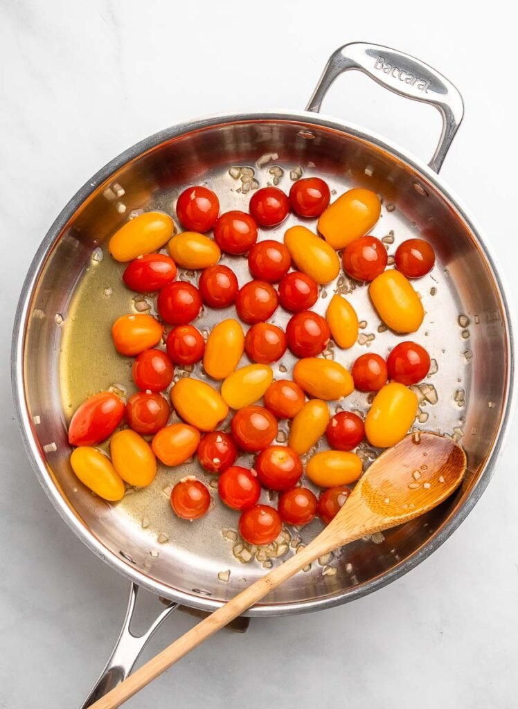 cherry tomatoes in a skillet