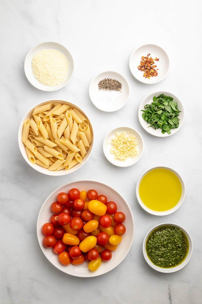 ingredient shot of the cherry tomato pasta