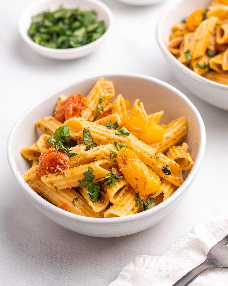 cherry tomato pasta in a whole bowl