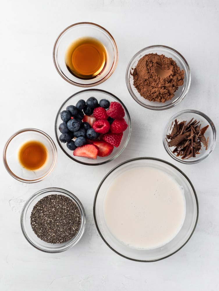 top down shot of the ingredients needed for chocolate chia pudding