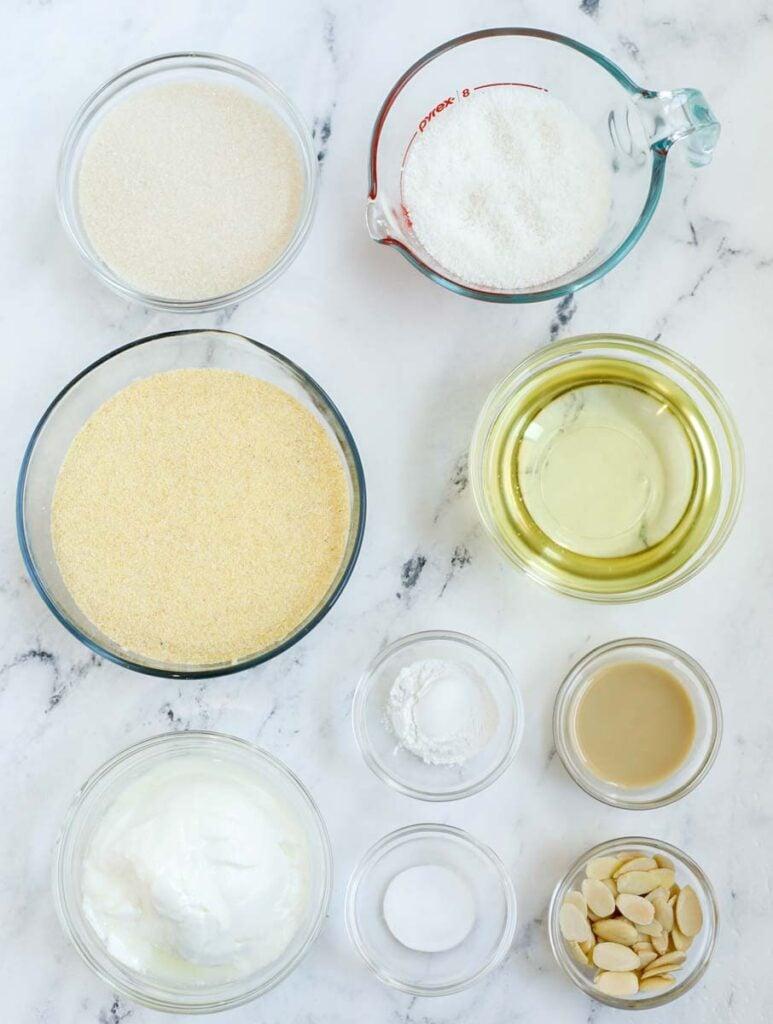 Basbousa ingredients laid out