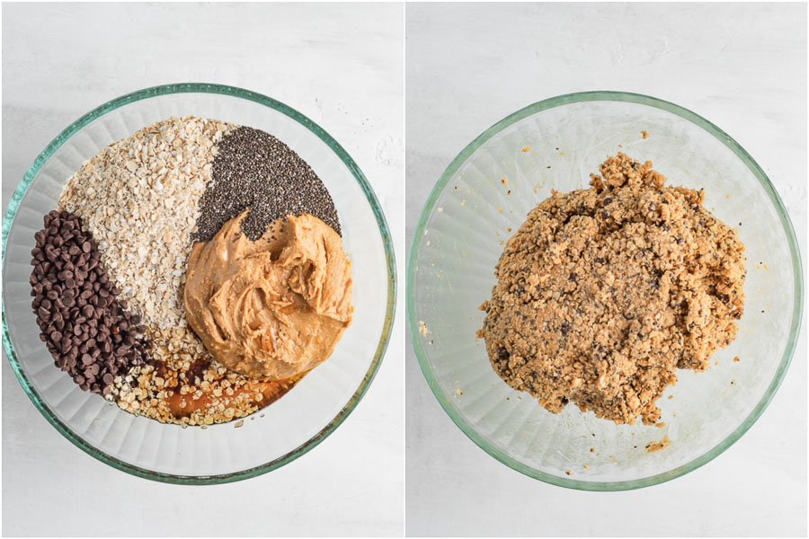 ingredients of the no bake energy ball in a bowl, before and after mixing