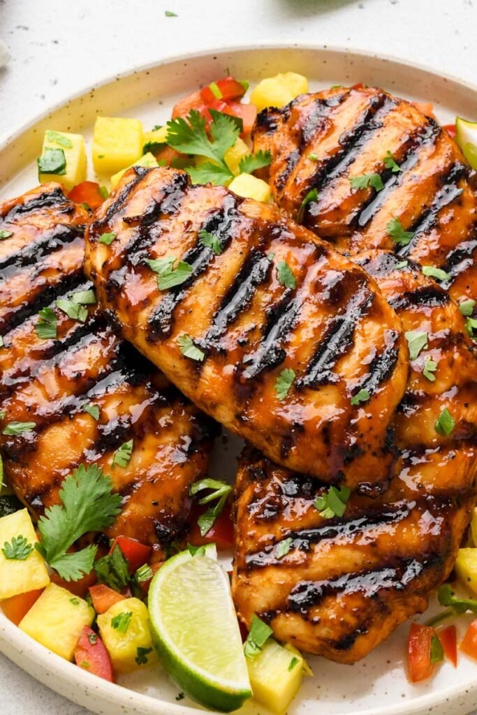 close up shot of the bbq chicken breast