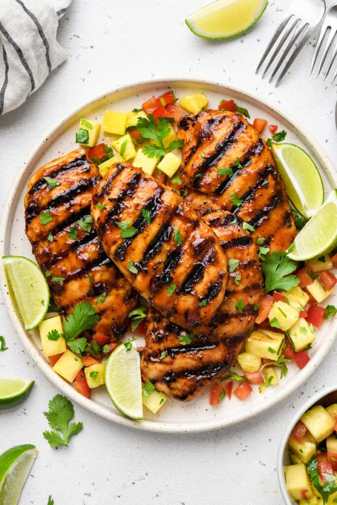 styled shot of the bbq chicken breast