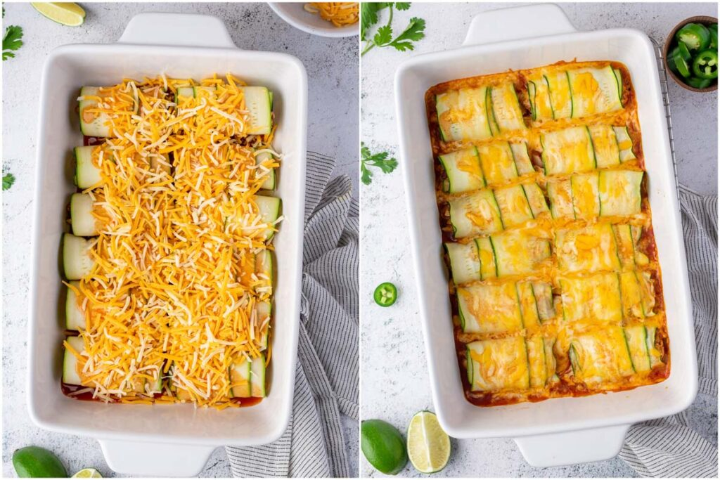 stuffed chicken enchiladas in a baking dish topped with cheese before and after baking