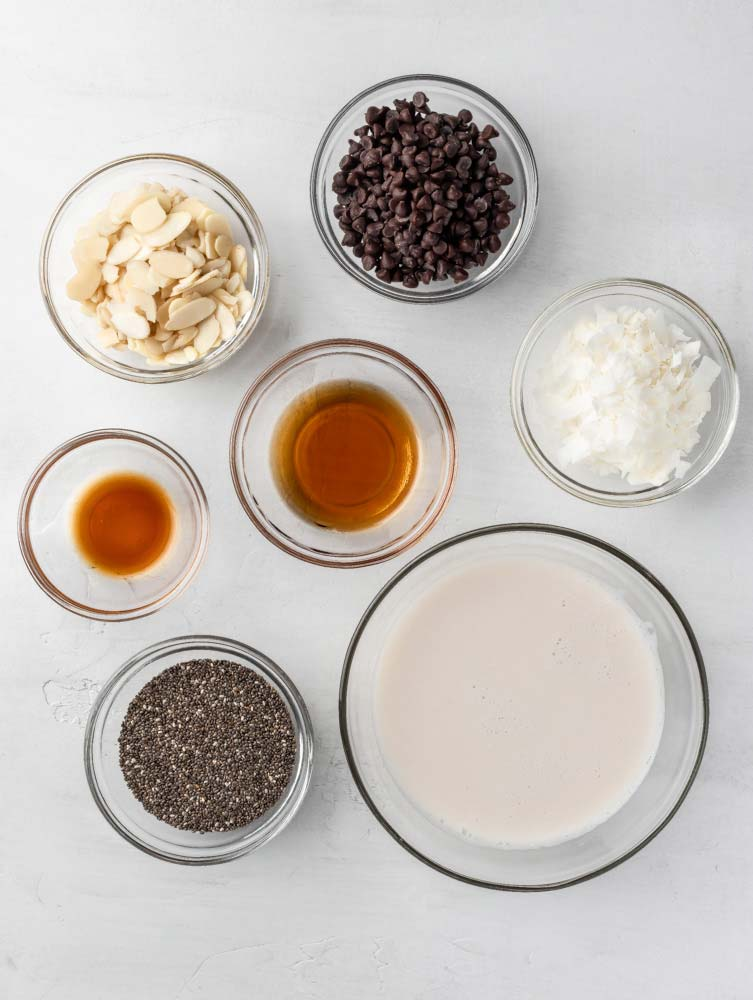 top down shot of the chia pudding ingredients