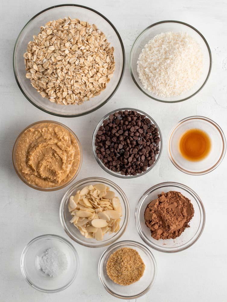 ingredients of almond joy energy balls