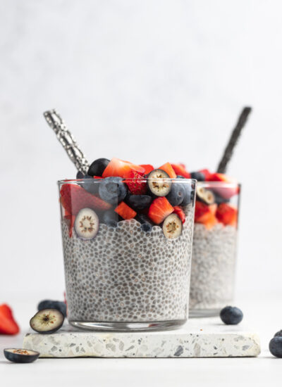 two close up shots of chia seed pudding