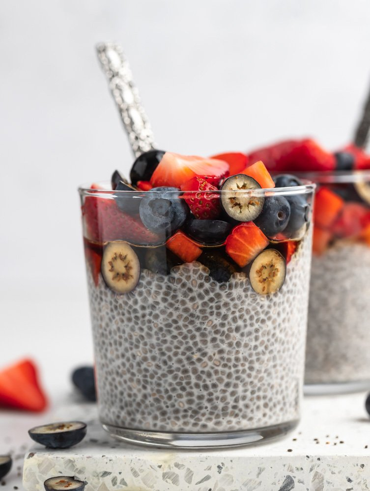 close up shot of the chia pudding topped with fruits