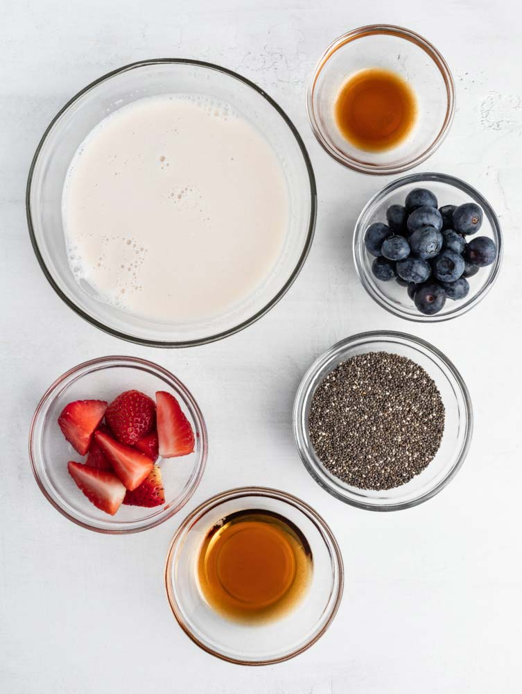 top down shot of the chia seed pudding ingredients