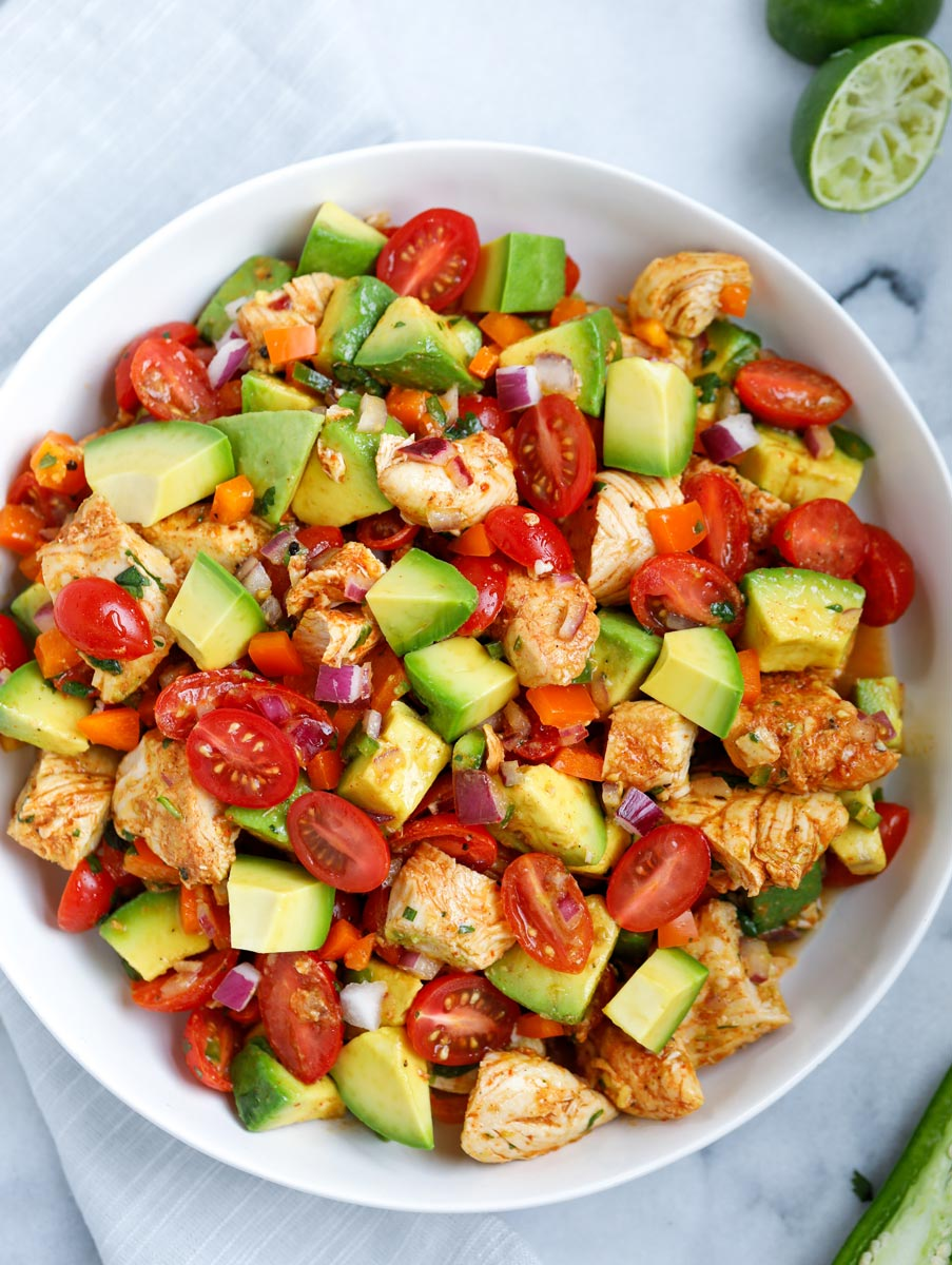 Overhead view of a bowl of avocado chicken salad.