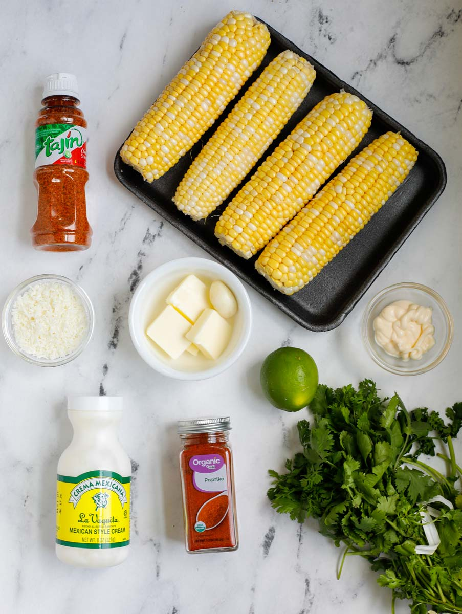 Overhead view of ingredients needed to make Mexican corn.