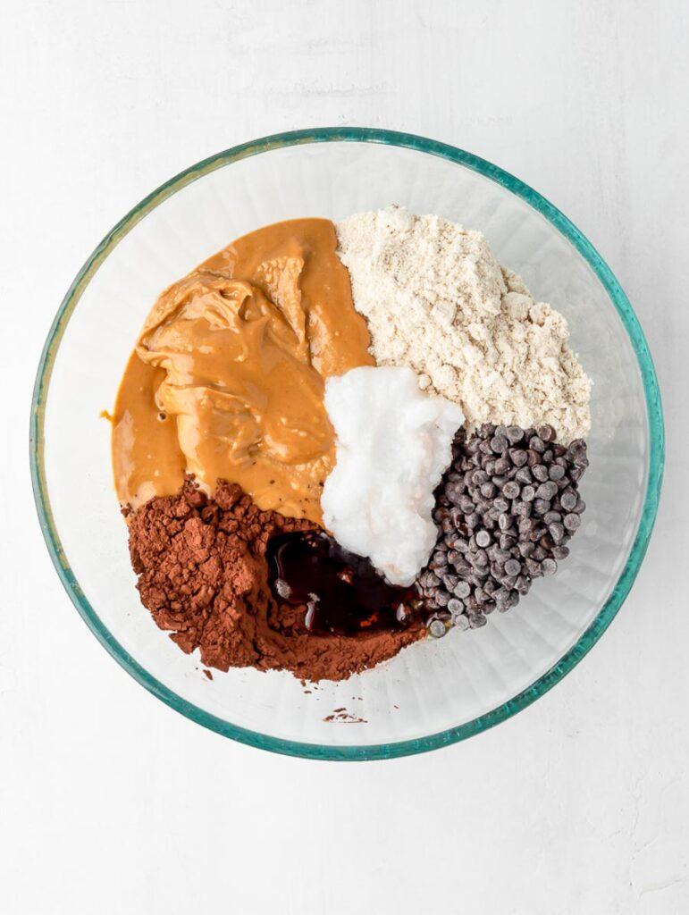 ingredient of brownie energy bites in a bowl