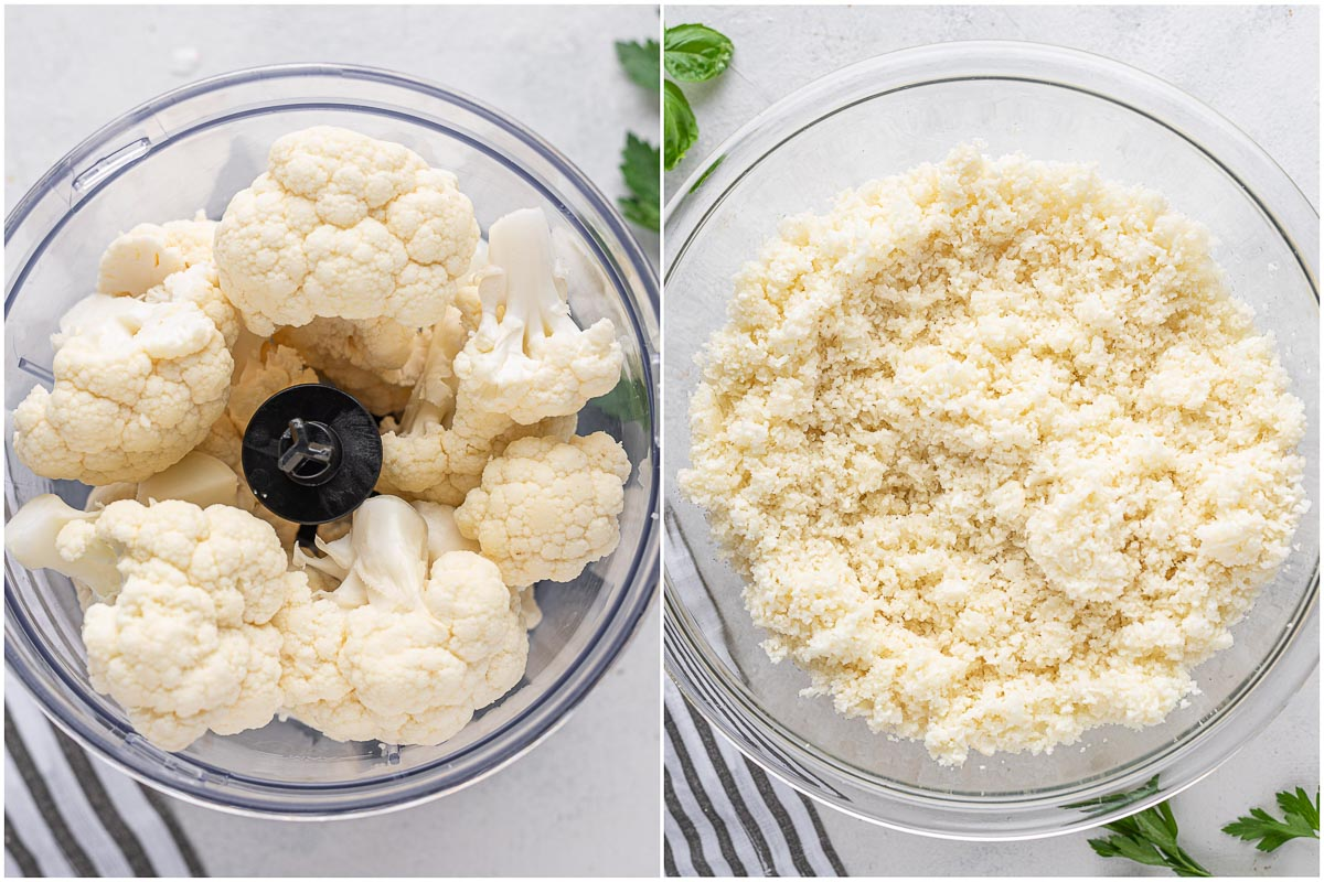 cauliflower in a processor and in a bowl after processed