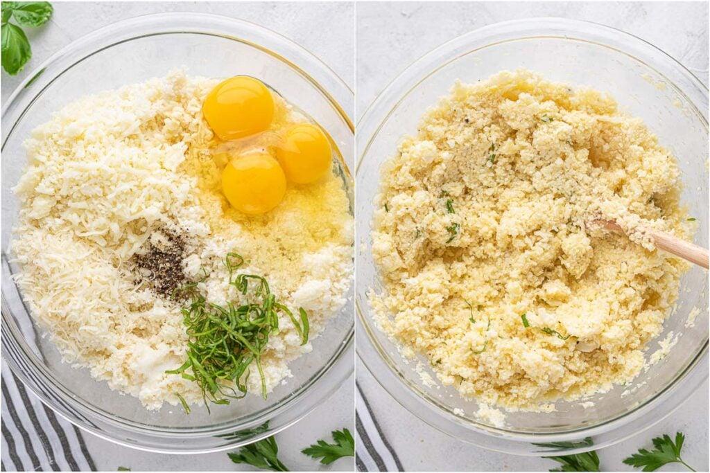cauliflower crust base mixed in a bowl