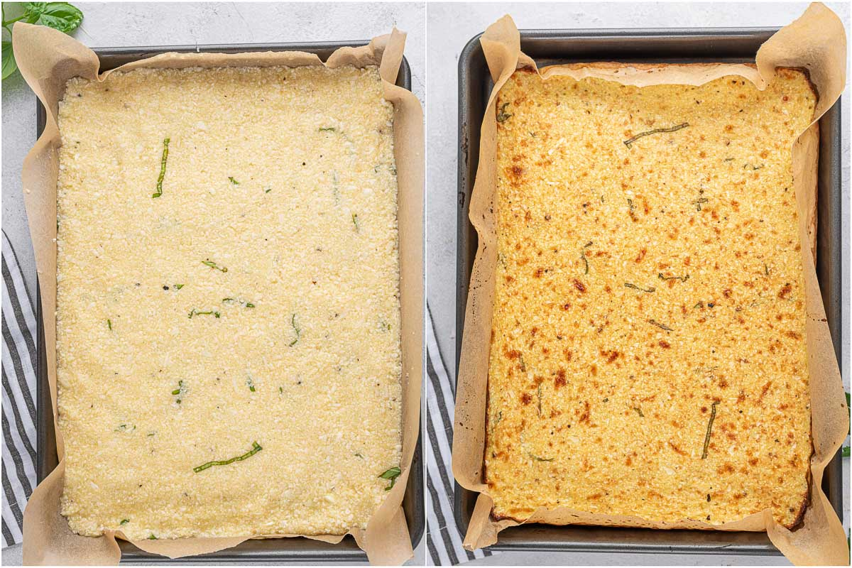 top down shot of cauliflower breadstick crust before and after baking