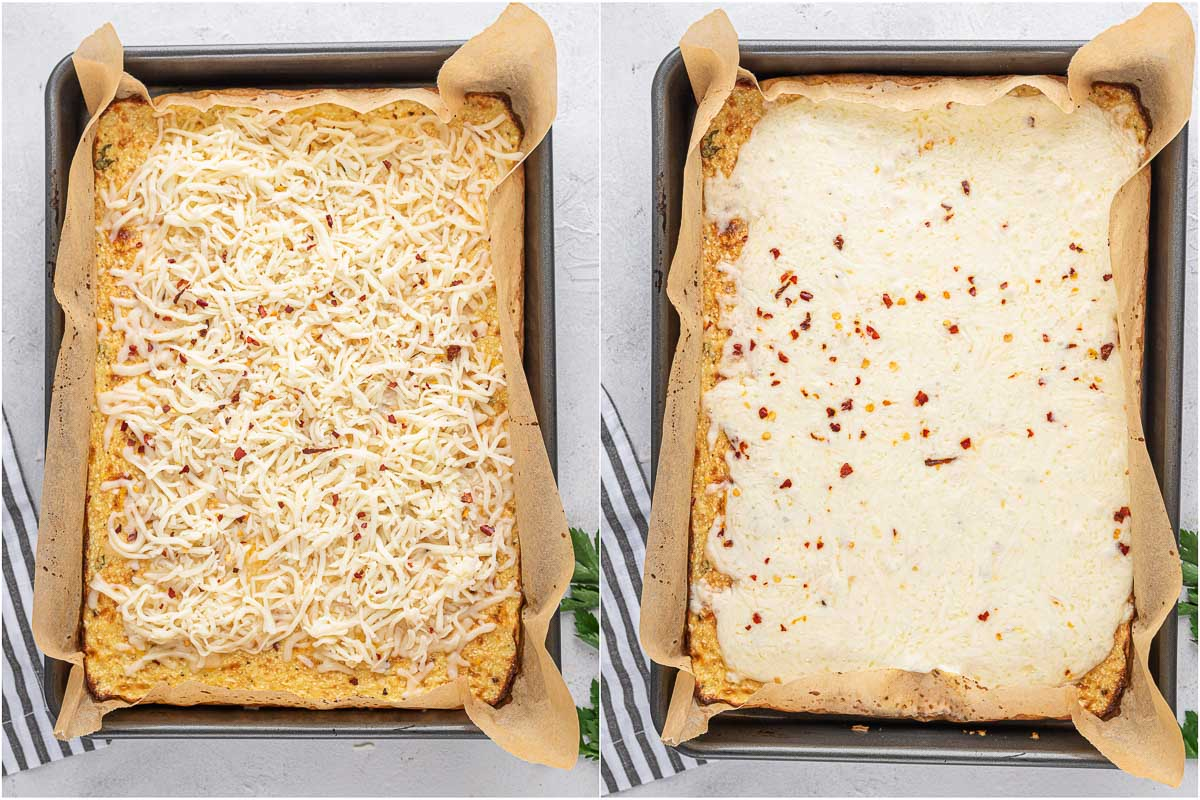 top down shot of cauliflower bread sticks before and after baking