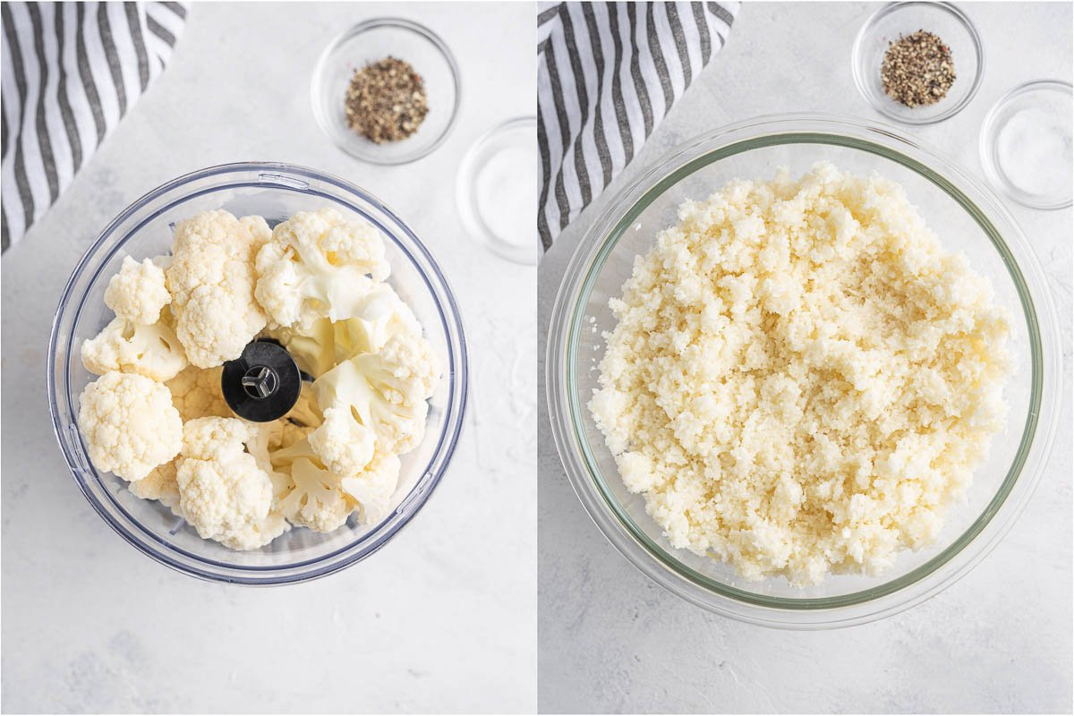 cauliflower before and after processing in a food processor