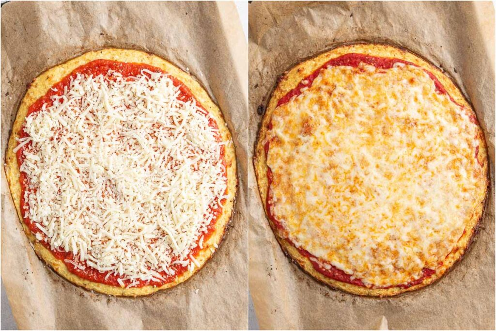 cauliflower pizza before and after baking