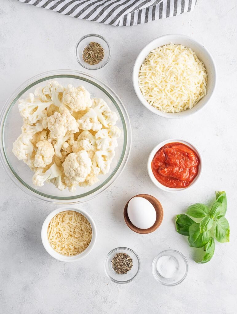 ingredients of cauliflower pizza laid out