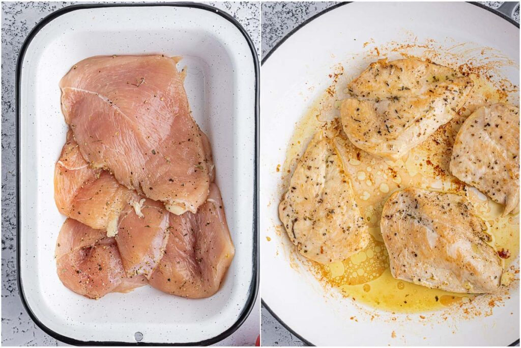 before and after marinated chicken is cooked for the caprese chicken