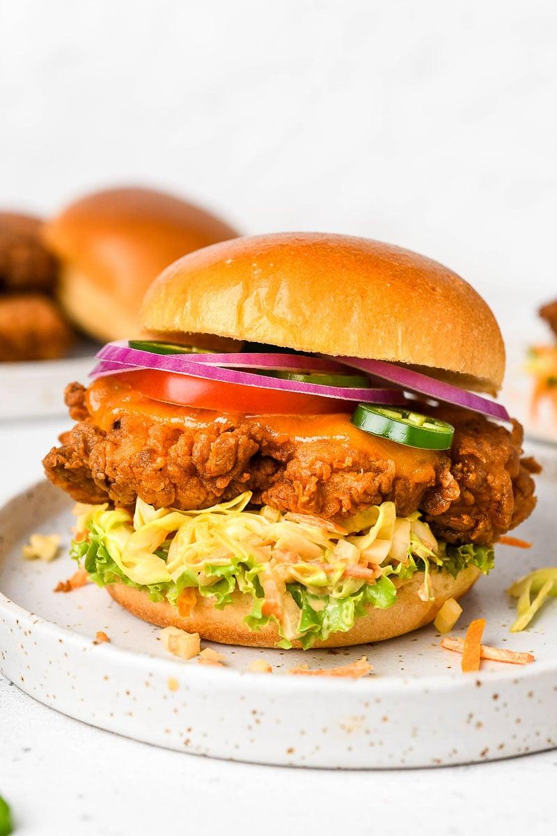 Close up of a crispy chicken sandwich.