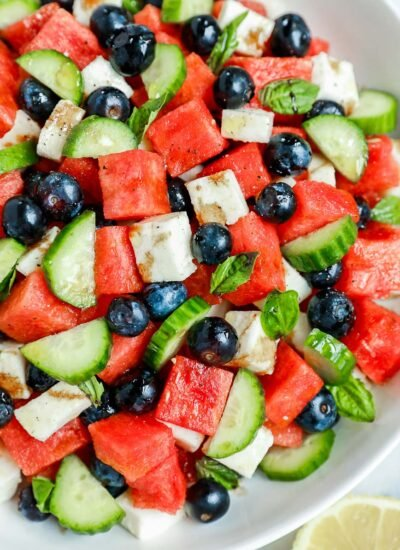 close up shot of the watermelon salad