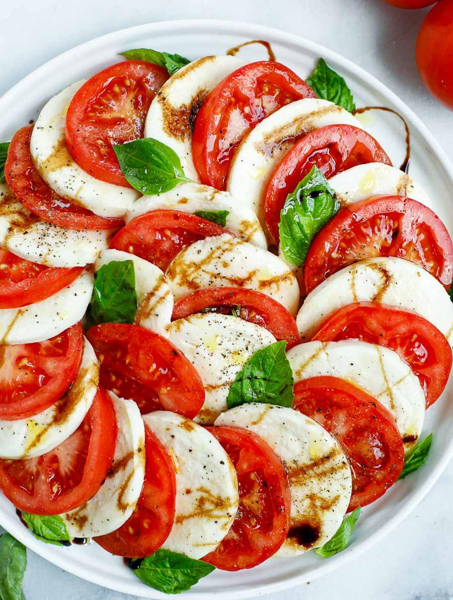 close up shot of the caprese salad dish