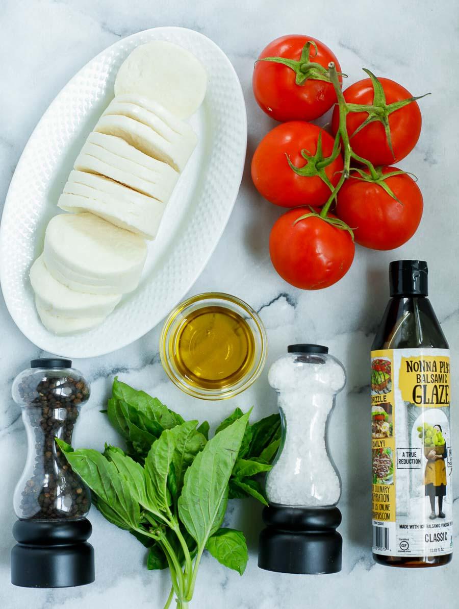 ingredient shot of the caprese tomato salad