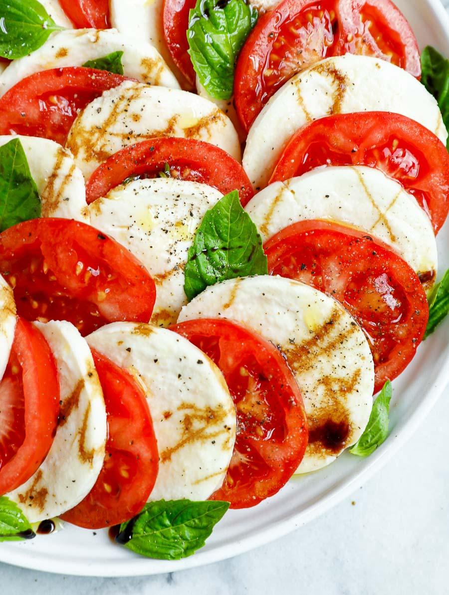 close up shot of the caprese tomato salad