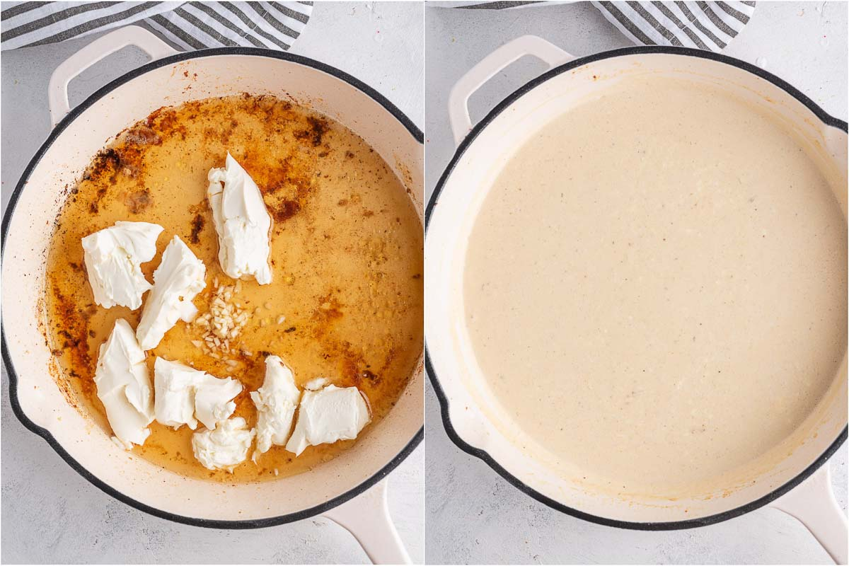 creamy sauce in a skillet