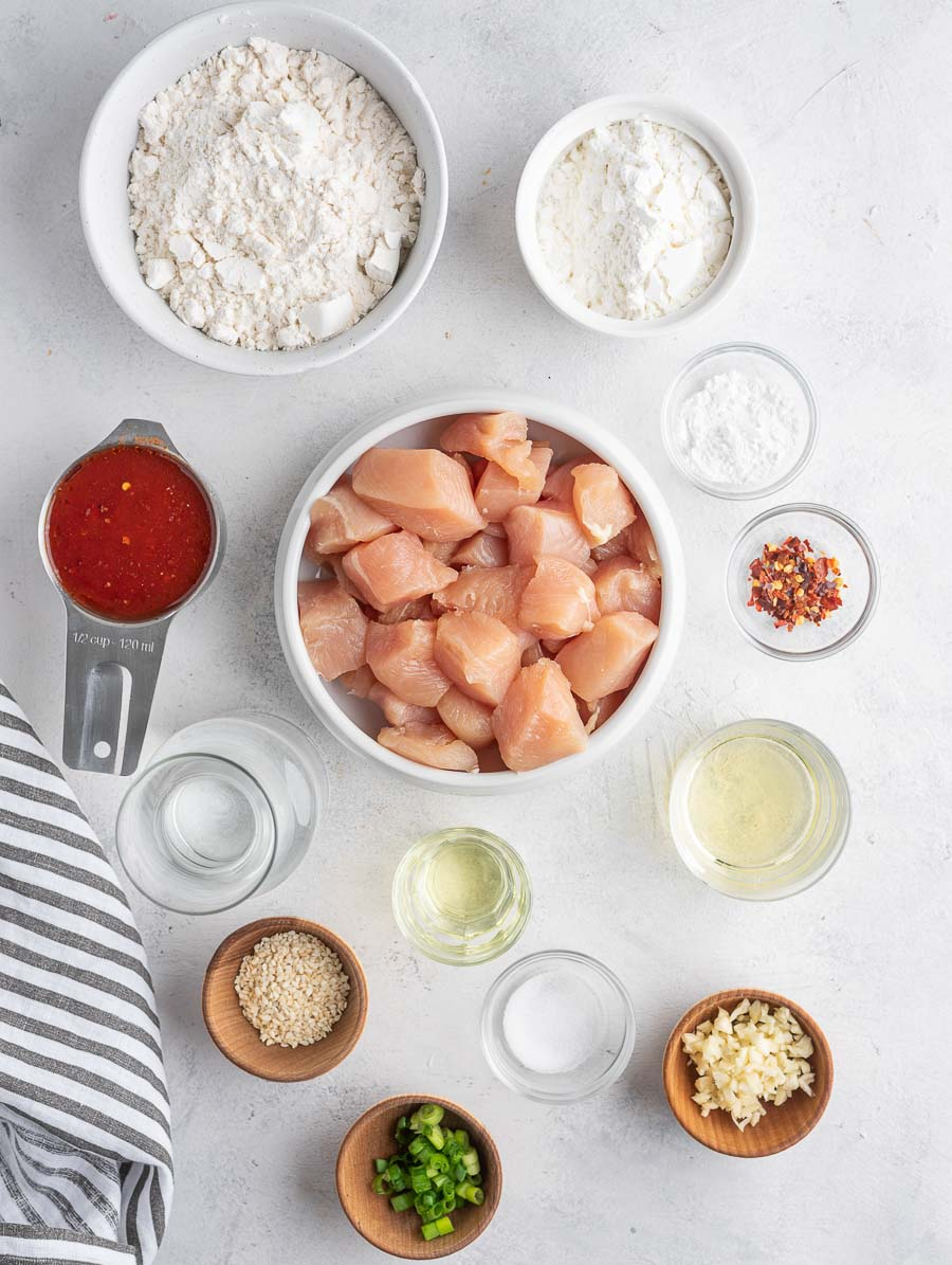 asian chicken recipe ingredients laid out