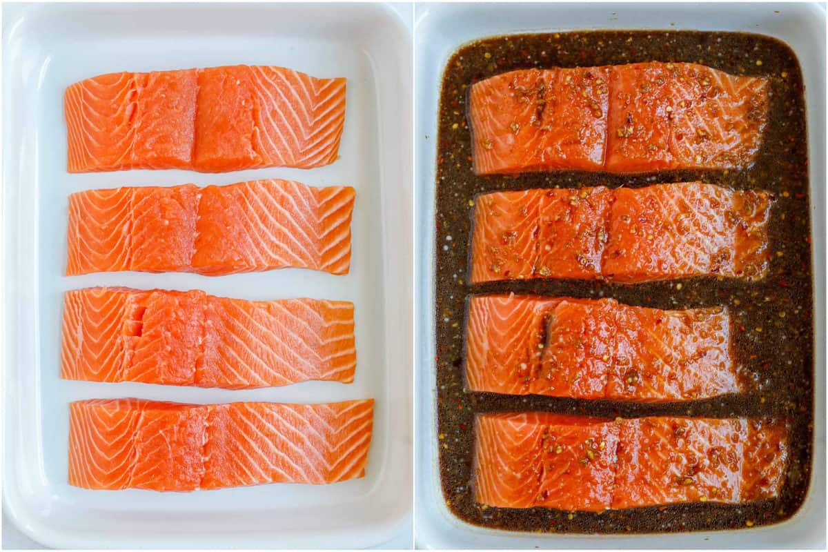 Salmon in a container, marinated with teriyaki sauce.
