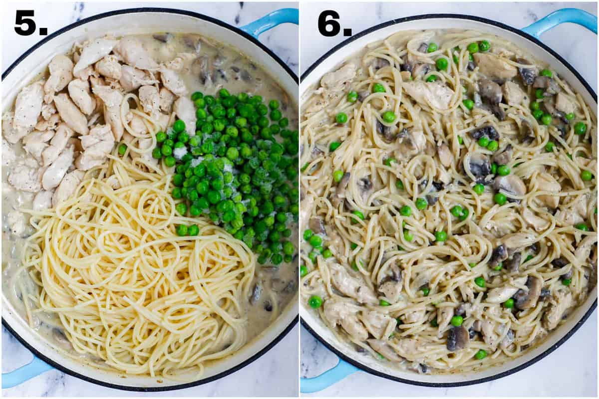 Ingredients for chicken tetrazzini in a pot and then stirred to combine.