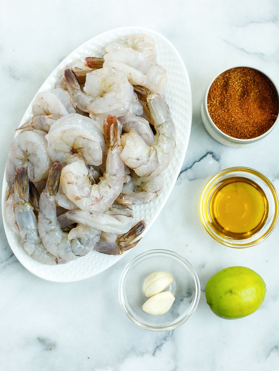ingredients of chipotle shrimps laid out