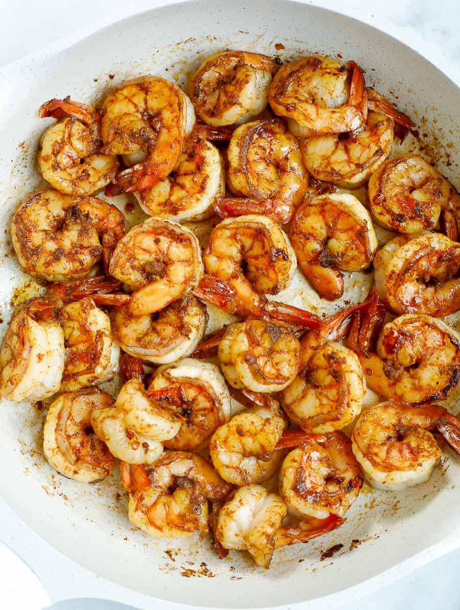 sautéed chipotle shrimp in a skillet