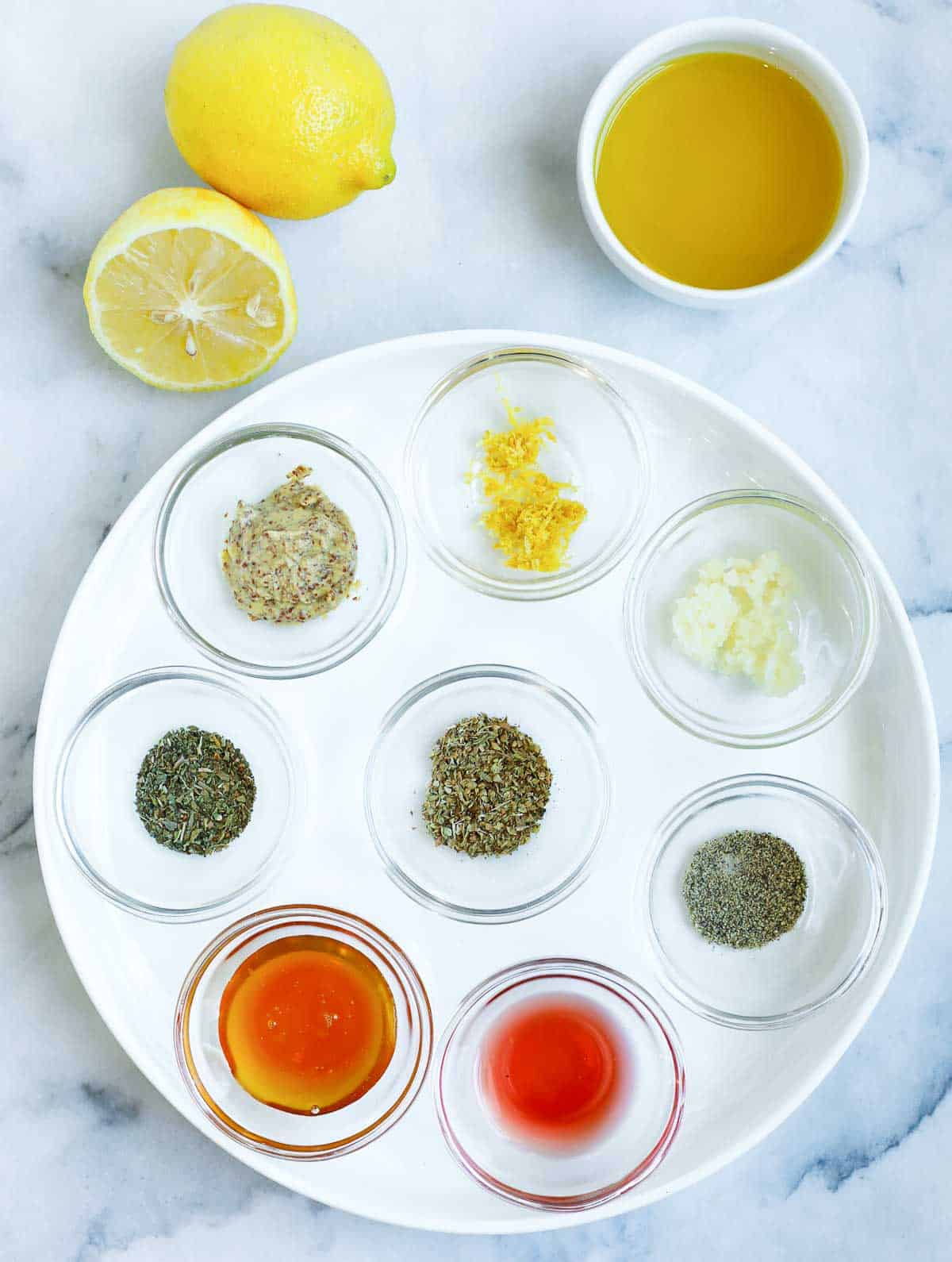 Ingredients for a lemon herb dressing.