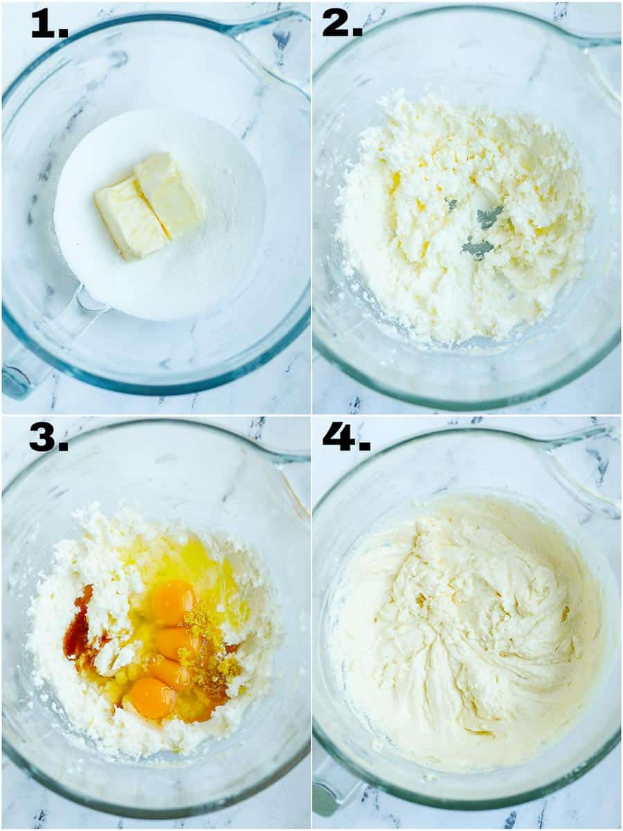 Before and after the butter, eggs and sugar got mixed in a glass bowl.