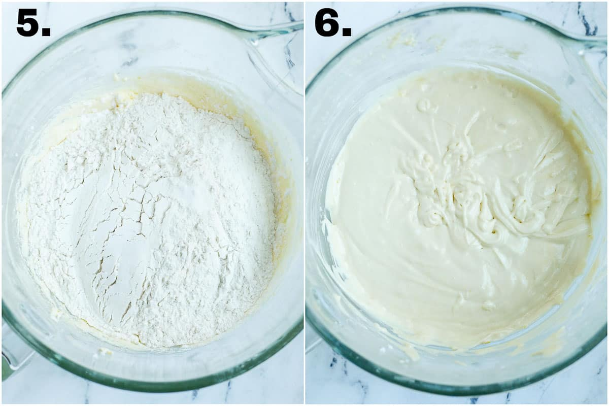 pear cake mix in the mixer bowl before adding dry ingredients ,milk and oil .