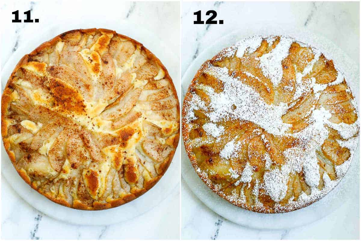 pear cake before and after dusting with powdered sugar.