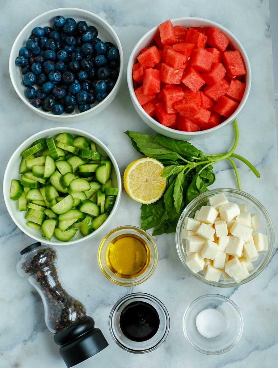 ingredients of the watermelon feta salad laid out
