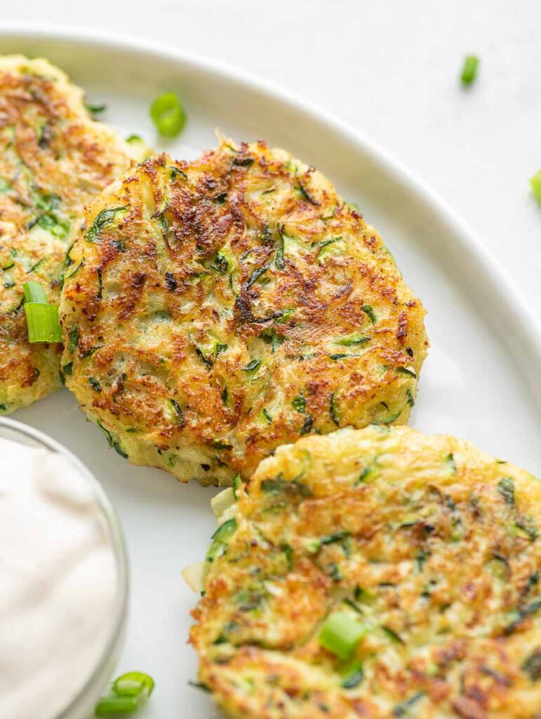 close up shot of the zucchini fritters