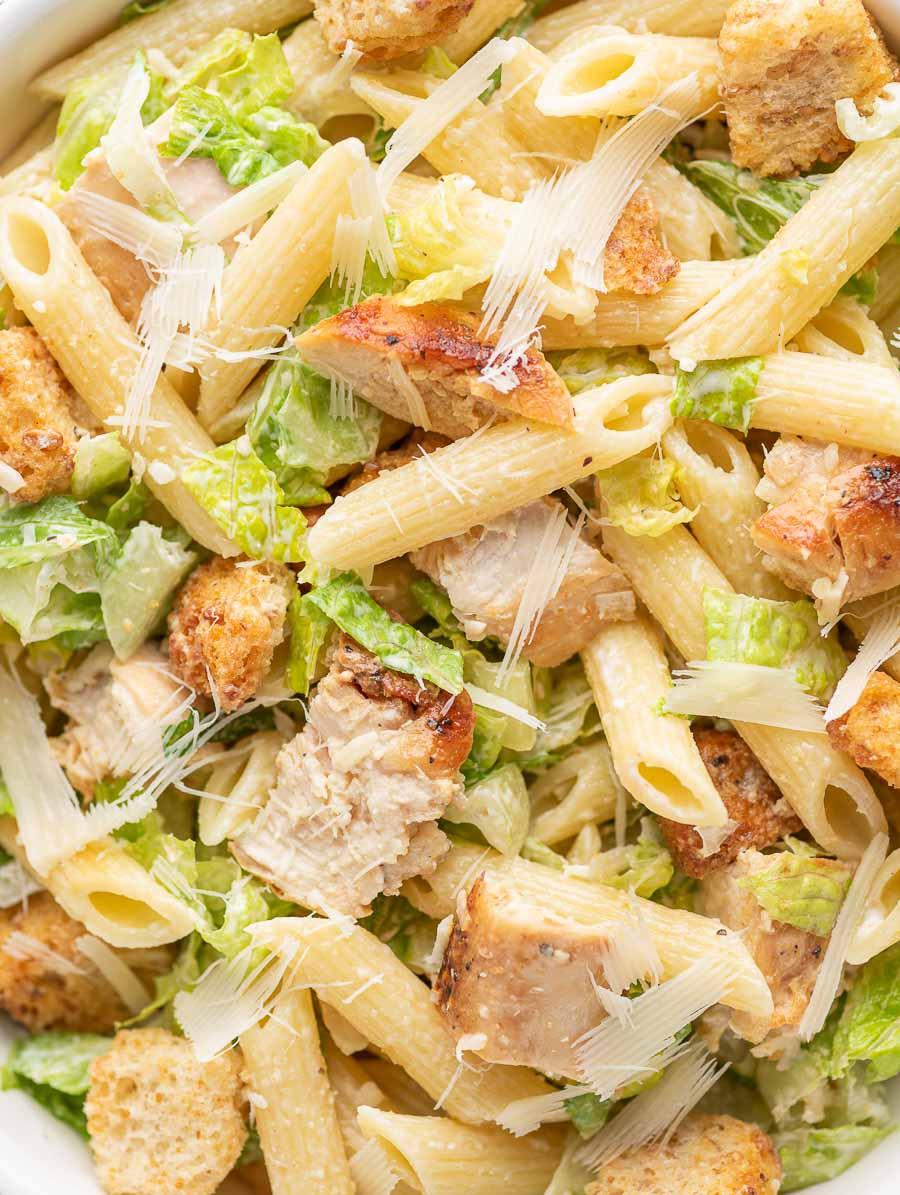 close up shot of the chicken ceasar pasta salad