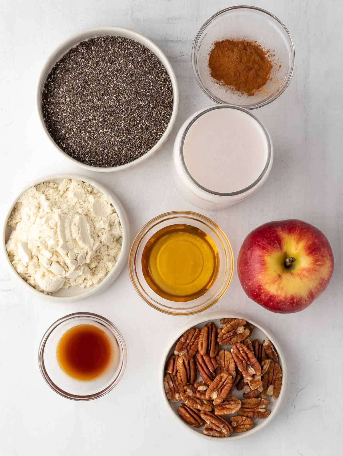 ingredients of the cinnamon apple overnight chia pudding laid out.