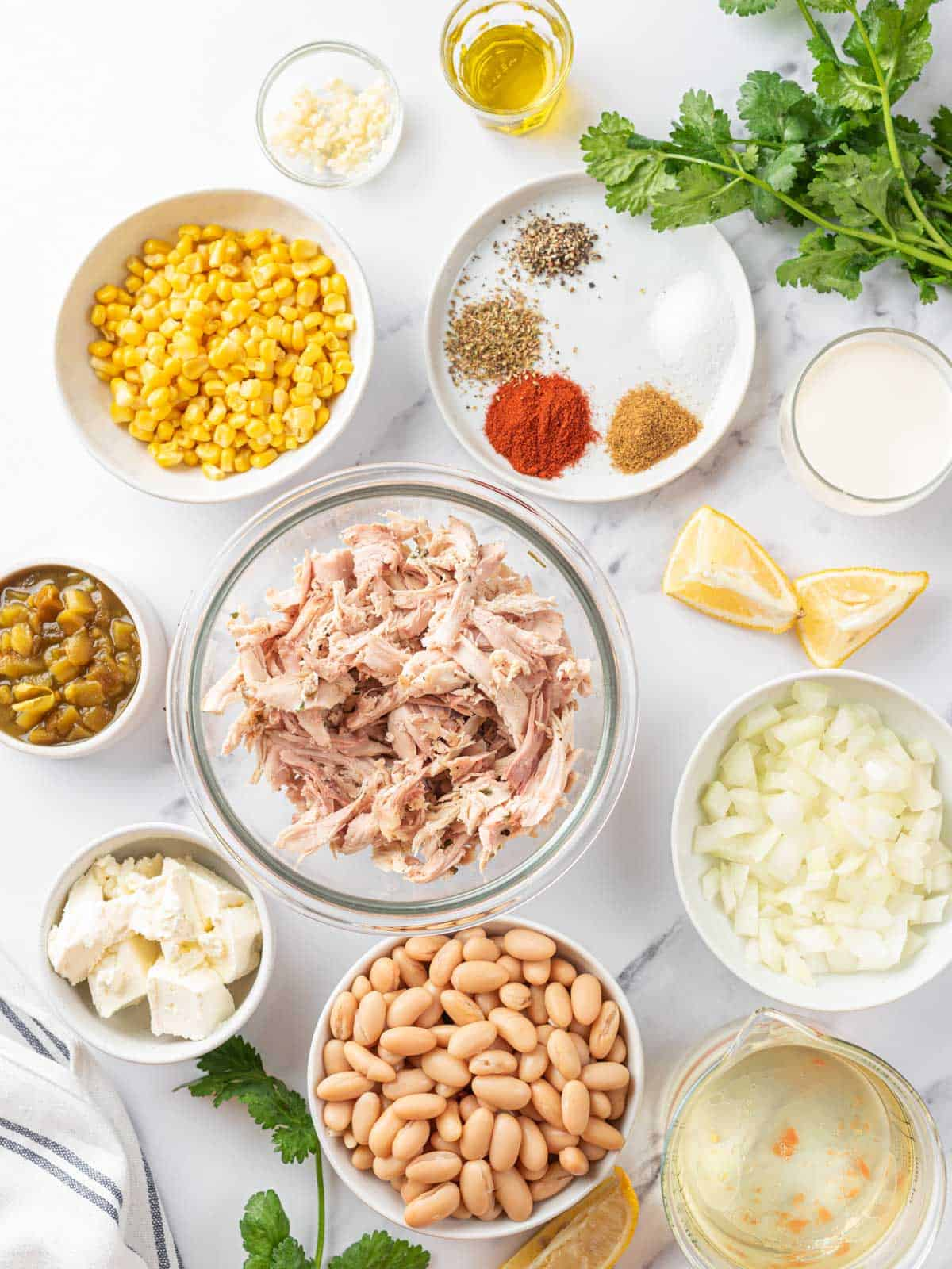 ingredients of White Chicken Chili Recipe laid out