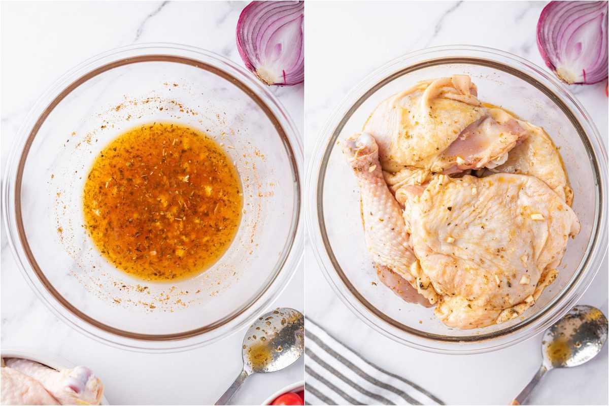 raw Mediterranean Chicken in marinade sauce