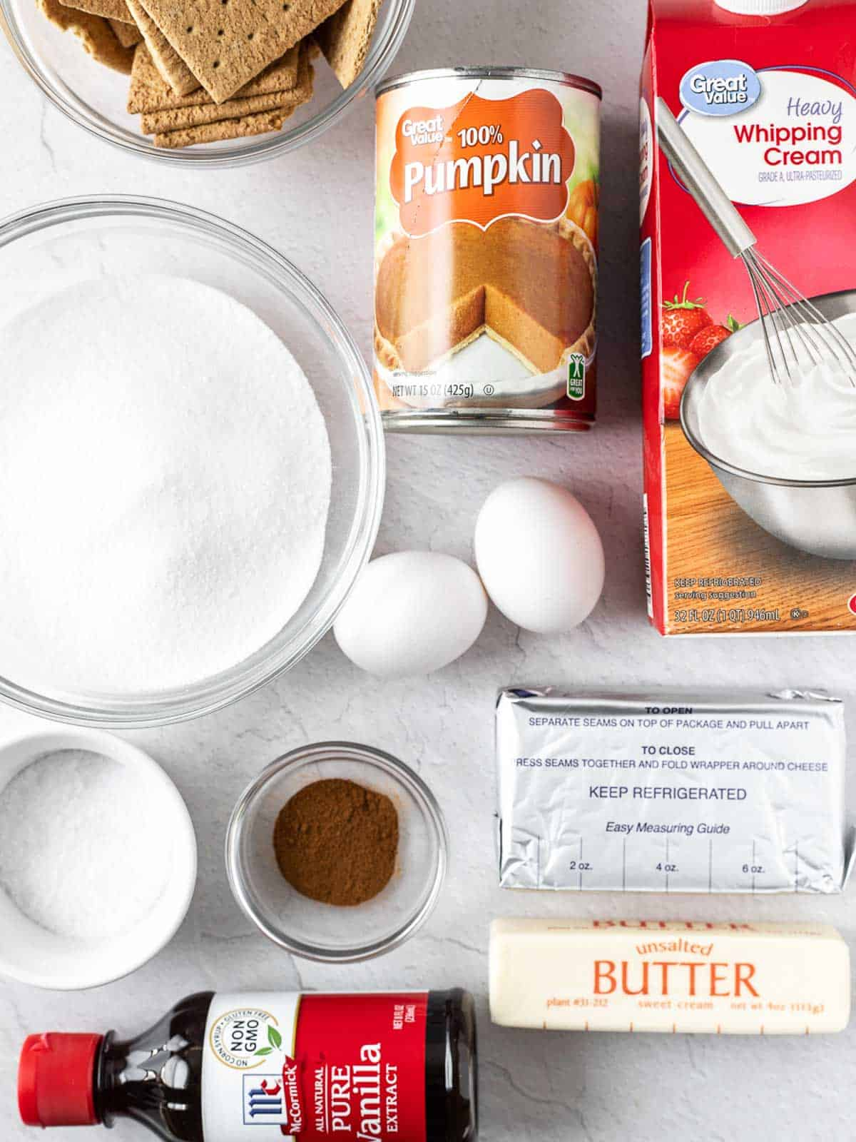 ingredients of the Cheesecake Swirled Pumpkin Bars