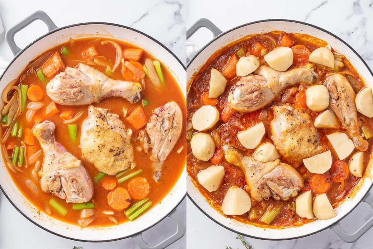 process shot showing steps on how to make easy chicken stew