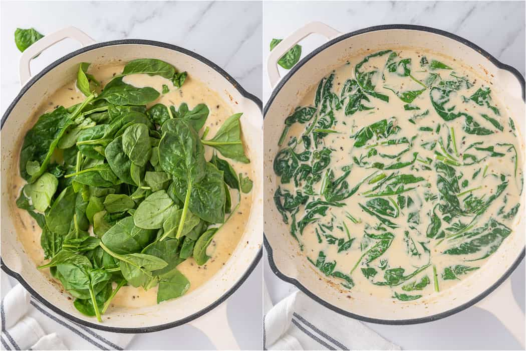 spinach leaves in the florentine sauce before and after it got cooked